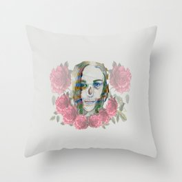 girl and flowers color Throw Pillow