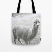 llama Tote Bags featuring Llama by Cat In The Sorting Hat