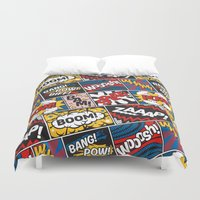 lichtenstein Duvet Covers featuring Modern Comic Book Superhero Pattern Color Colour Cartoon Lichtenstein Pop Art by Season of Victory