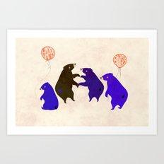 A Sleepy bear birthday Art Print