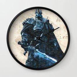Arthas Lich King wow da vinci style sketch Wall Clock