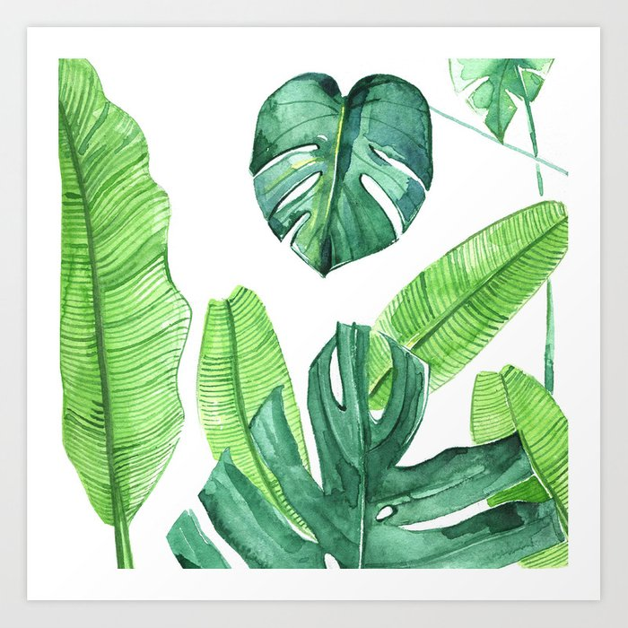 Watercolor Tropical Leaves Art Print By Rongrongillustration Society6 Subscribe to envato elements for unlimited graphics downloads for a single monthly fee. watercolor tropical leaves art print by rongrongillustration