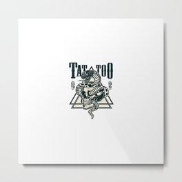 Cobra Entrelacada Com Emblema De Tatuagem De Caveira Metal Print
