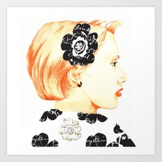 Illustration with black and white Art Print