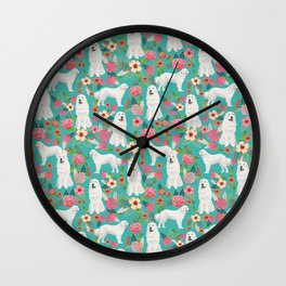 Great Pyrenees florals pattern dog breed must have dog lover gifts Wall Clock