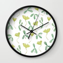 "Watercolor Painting of Picture ""Green Leaves"" Wall Clock"