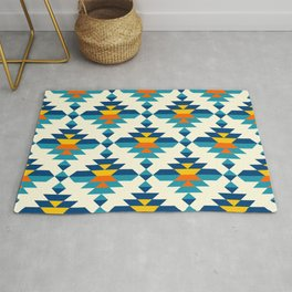 Rounded colorful aztec diamonds pattern Rug