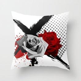 Trash Polka Roses Throw Pillow
