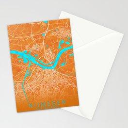 Nijmegen, Netherlands, Gold, Blue, City, Map Stationery Cards