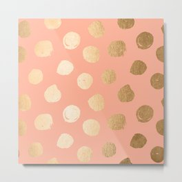 Sweet Life Polka Dots Peach Coral + Orange Sherbet Shimmer Metal Print