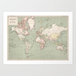 Vintage Map of The World (1915) Art Print