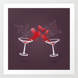 Martini. Love drink. Art Print