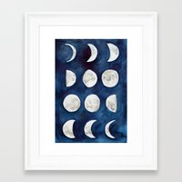 moon phases Framed Art Prints featuring Moon phases by Bridget Davidson
