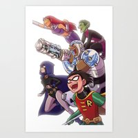 teen titans Art Prints featuring Teen Titans by Kelly Kao