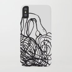 Paint 2 abstract black and white minimal brushstroke japanese modern home decor dorm college  Slim Case iPhone X