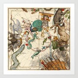 Centaurus, Indus, Chamaeleon, Eridanus, Lupulus, Api, Grus, Phoenix And Other Constellations Art Print