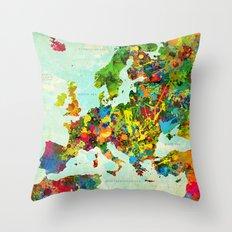 Europe Splatter Map Throw Pillow