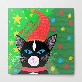 Christmas Cat Tuxedo blue eyes Metal Print
