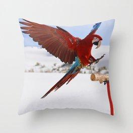Parrot flying Throw Pillow