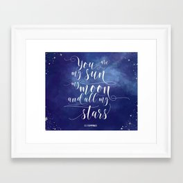 you are my sun, my moon, and all my stars EE Cummings Framed Art Print