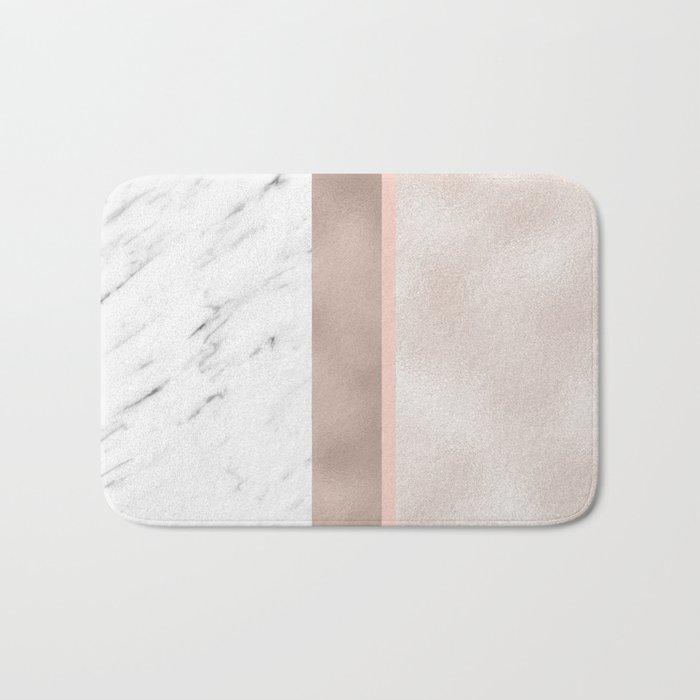 Cloudy marble on golden rose Bath Mat