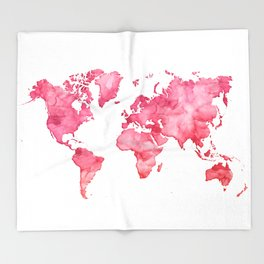 Raspberry watercolor world map Throw Blanket
