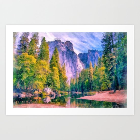 Mountain landscape with forest and river Art Print