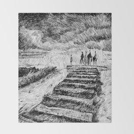 Drawing Black ink - Storm Throw Blanket
