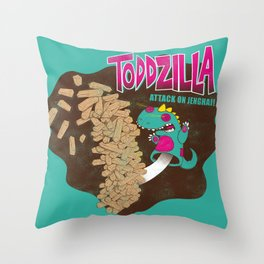 TODDZILLA – ATTACK ON JENGHAI! Throw Pillow