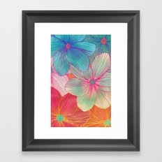 Between the Lines - tropical flowers in pink, orange, blue & mint Framed Art Print
