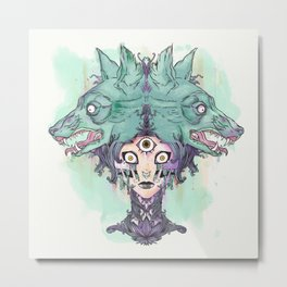 VooDoo Priestess Witch With Third Eye And Wolves Metal Print