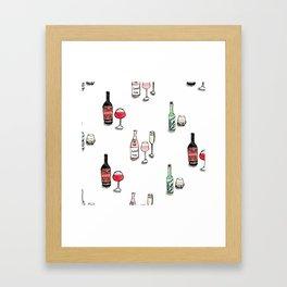 #DrinkWineDay Pattern Framed Art Print