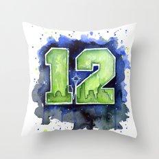 12th Man Seahawks Seattle Go Hawks Art Throw Pillow