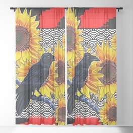WESTERN  BLACK CROW SUNFLOWERS RED ABSTRACT Sheer Curtain