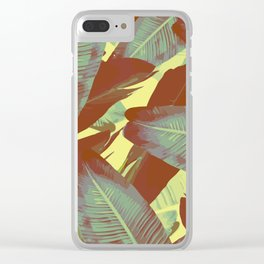 Banana Leaves Vintage Clear iPhone Case