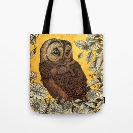 Tawny Owl Yellow Tote Bag