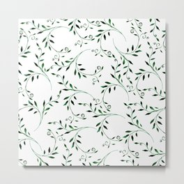 Hand painted green watercolor floral leaves Metal Print