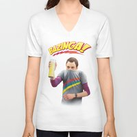 bazinga V-neck T-shirts featuring Sheldon  - BAZINGA! by ShannonPosedenti