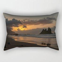 Sunset Beach in Golden Hour Rectangular Pillow