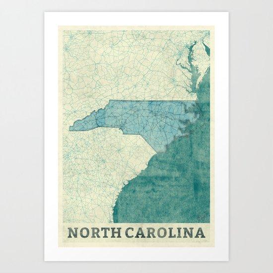 North Carolina State Map Blue Vintage Art Print