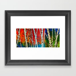 Birch Tree Stitch Framed Art Print