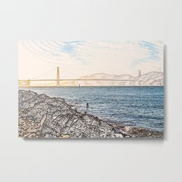 Golden Gate Bridge ArtWork Painting Metal Print