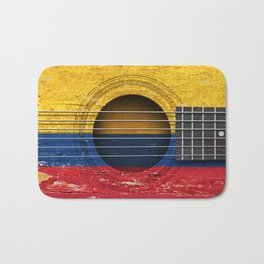 Old Vintage Acoustic Guitar with Colombian Flag Bath Mat