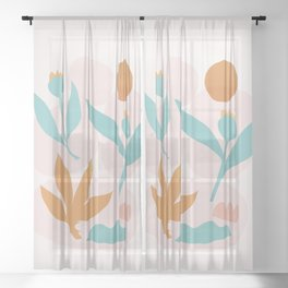 Abstraction_Floral_Minimalism_Beautiful_Day Sheer Curtain