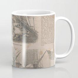 Vintage Historical American Battleship Diagram (1854) Coffee Mug