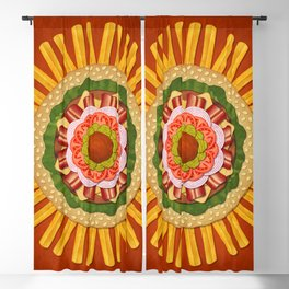 Bacon Cheeseburger with Fries Mandala Blackout Curtain