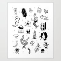 tattoos Art Prints featuring Flash Tattoos by Hamburger Hands
