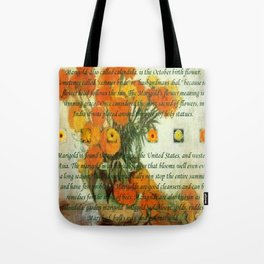 October's Child Birthday Card with Text and Marigolds Tote Bag