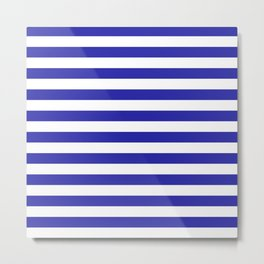 Stripes (Navy & White Pattern) Metal Print