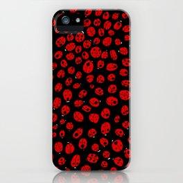 Ladybugs (Red on Black Variant) iPhone Case